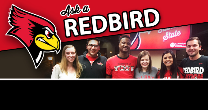 Panel of students with Ask a Redbird text