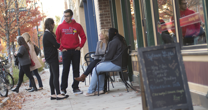 Students socializing in Uptown Normal